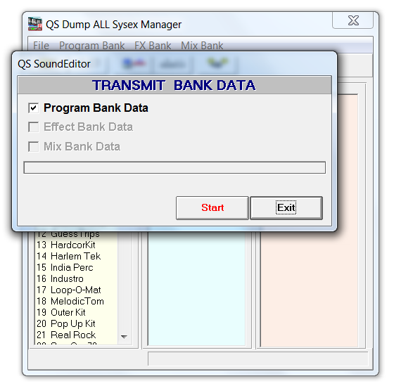 Loading the QS Drum Programs Bank SYSEX file